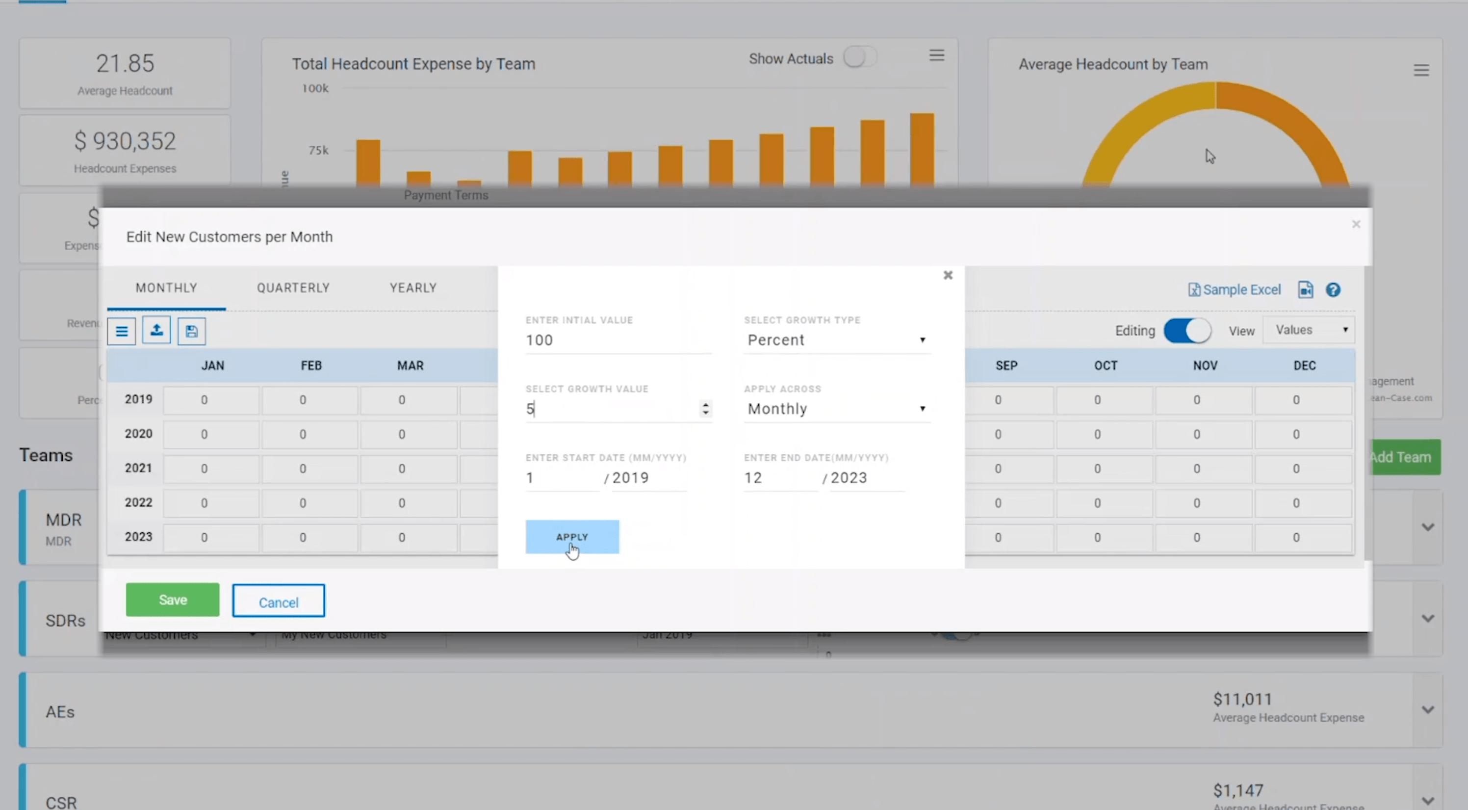 Spreadsheet widget